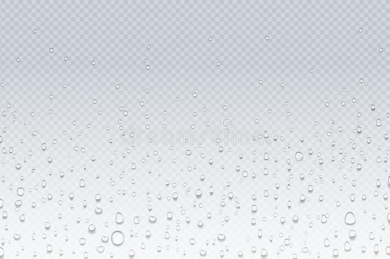 Water drops on glass. Rain droplets on transparent window, steam condensation pattern, shower glass. Vector water drops. Realistic background stock illustration
