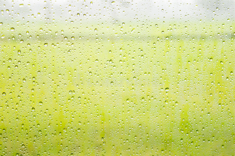 Water drops on glass,raindrop on glass with green field background. Texture stock images