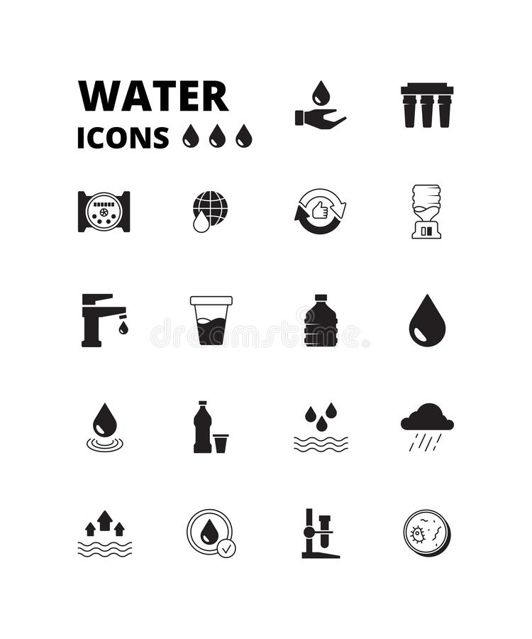 Free Water Drops Icon. Refreshing Liquids Recycling Rain Plastic Bottles With Fresh Drinks Splashes Cooler Vector Symbols Set Royalty Free Stock Image - 166171446
