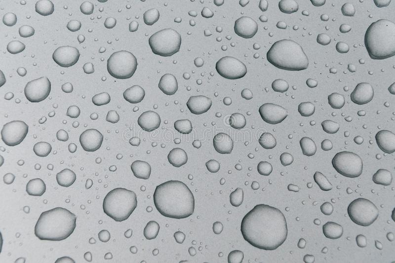 Water drops on metal surface stock photo