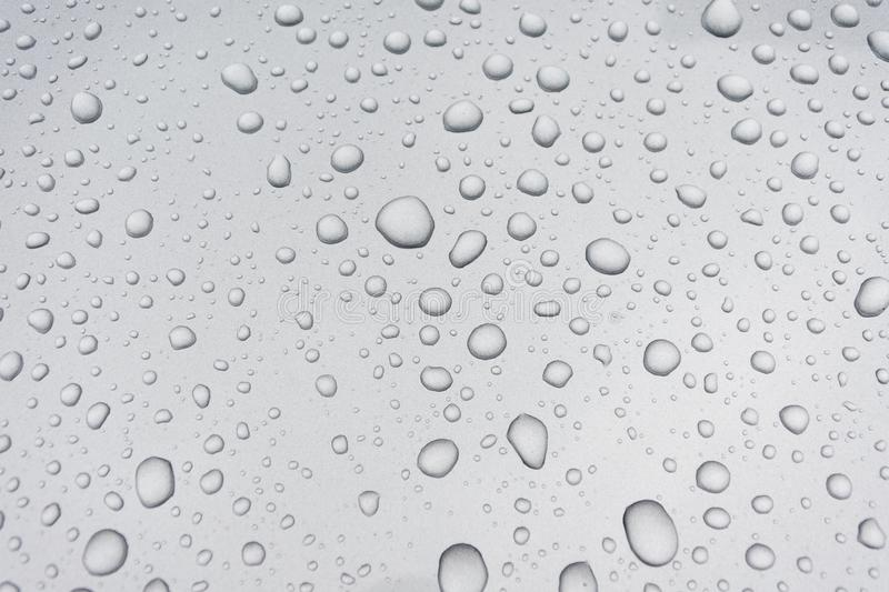 Water drops on metal surface stock image