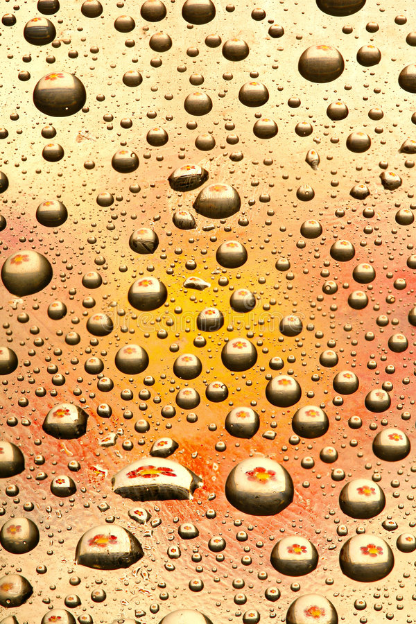 Download Water Drops On Orange Glass Stock Image - Image: 4675427