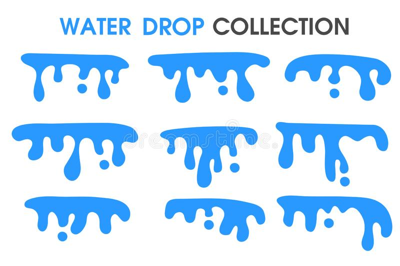 Water drops and water curtains in a simple flat cartoon style vector illustration