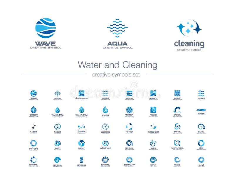 Water drops, waves and Cleaning creative symbols set. Pure aqua, bio drink abstract business logo concept. Easy wash stock illustration