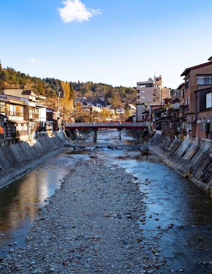 Rivers in villages in Japan in winter season. Water in a dry stream in the winter. Rivers in villages in Japan in winter season royalty free stock photo