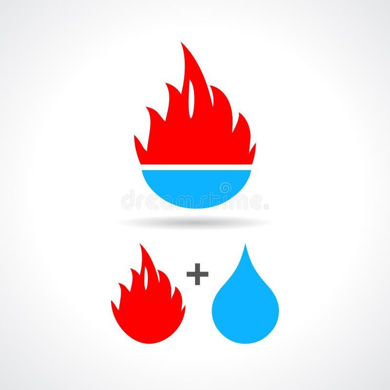 Water en brandpictogram royalty-vrije illustratie