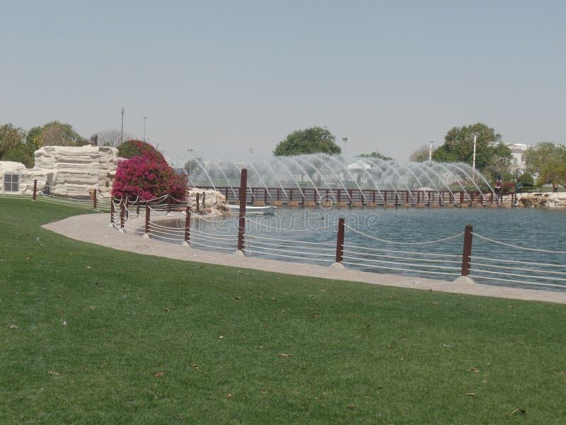 Water en fonteinen in Aspire Park, Doha, Qatar stock afbeeldingen