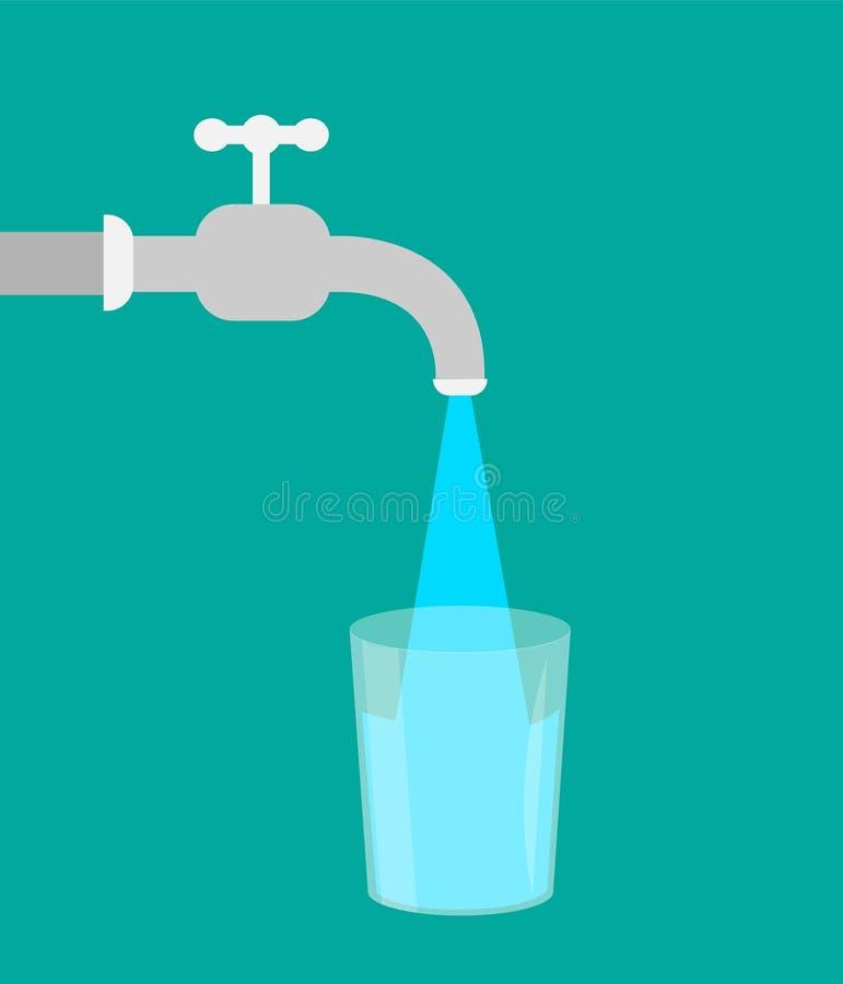 Water en glas Vlak Ontwerp Water van de kraan vector illustratie