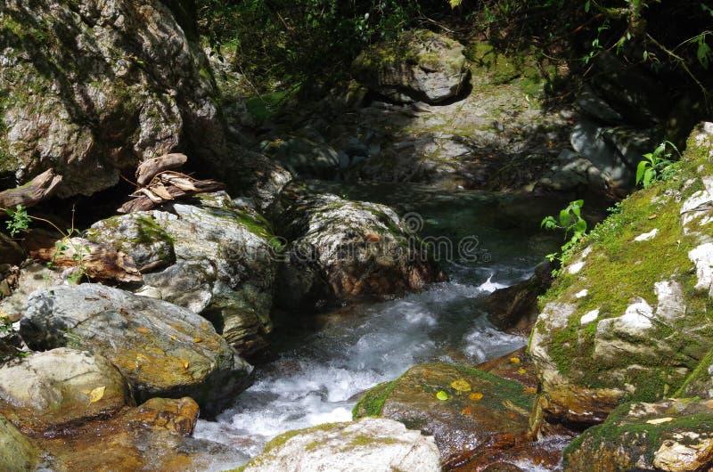 Water en rotsen in de berg stock foto's