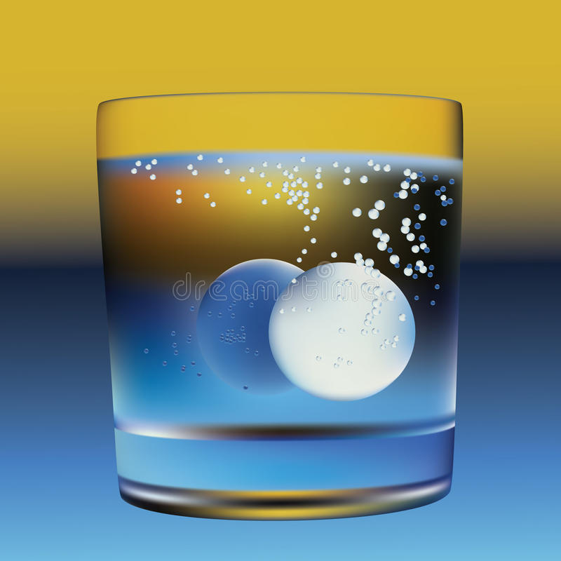 Water en tabletten. royalty-vrije illustratie