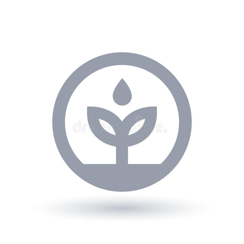 Water environment icon. Plant leaf with water drop symbol. royalty free illustration