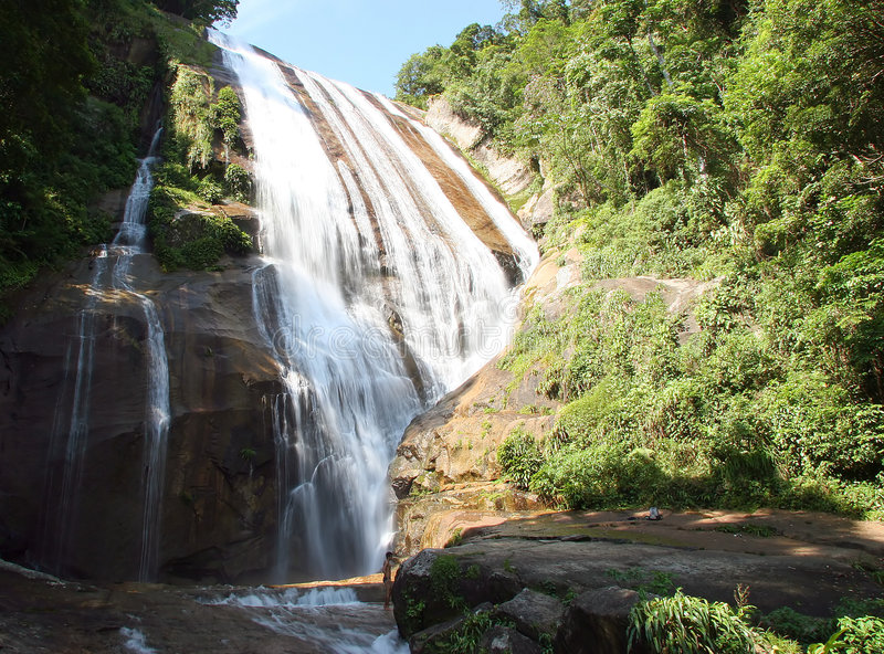 Water fall. In ilhabela, brazil stock photo