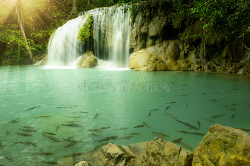 Water fall in arawan water fall national park kanchanaburi thailand use for natural background, Deep forest royalty free stock images