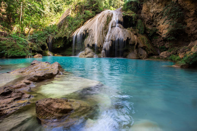Water fall. Beautiful water fall deep in forest of Thailand stock photos