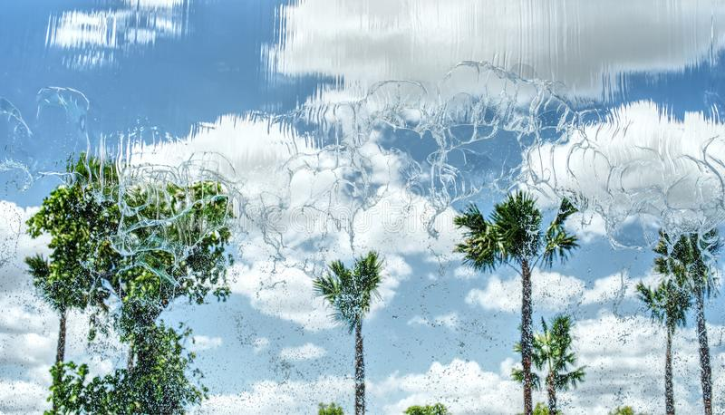 Water fall and clouds blue sky background stock photography