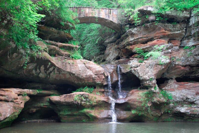 Water fall and stone bridge stock image
