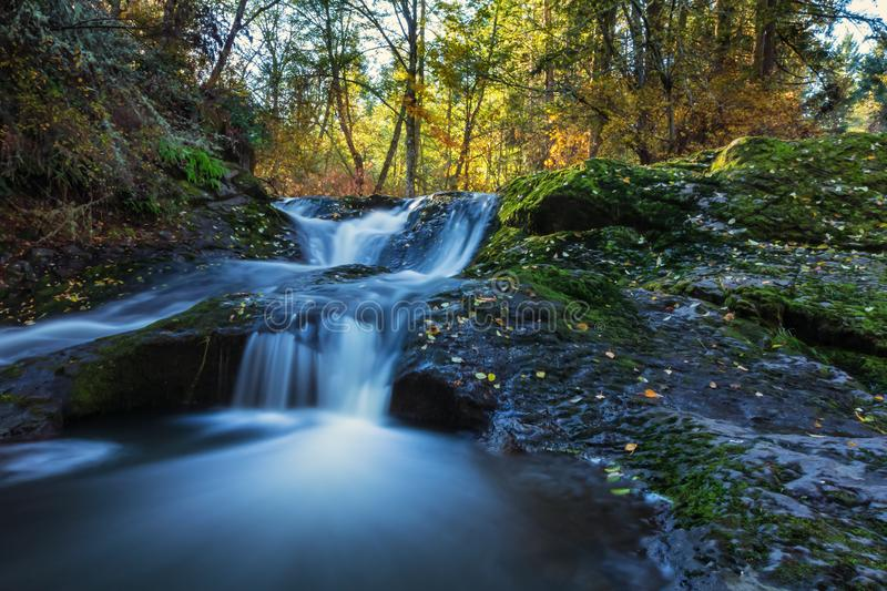 Water fall on upper little Mashel river in Eatonville WA USA. Water fall on upper little Mashel river in a early morning autumn sunrise Eatonville WA USA royalty free stock photos