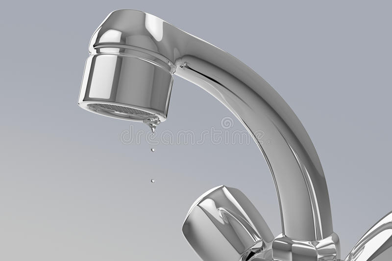 Water faucet with drops royalty free illustration