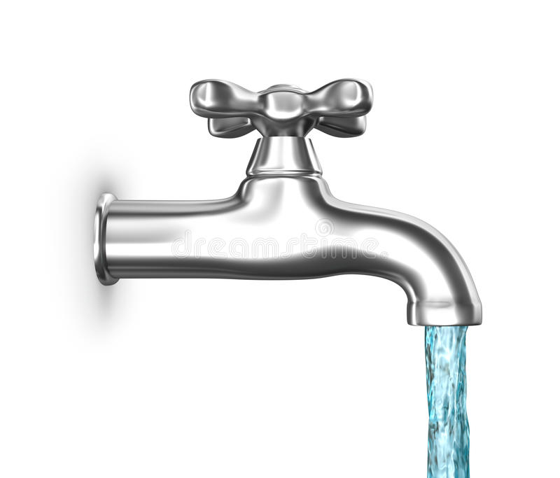 Water Faucet With Flowing Water Isolated On White Royalty Free