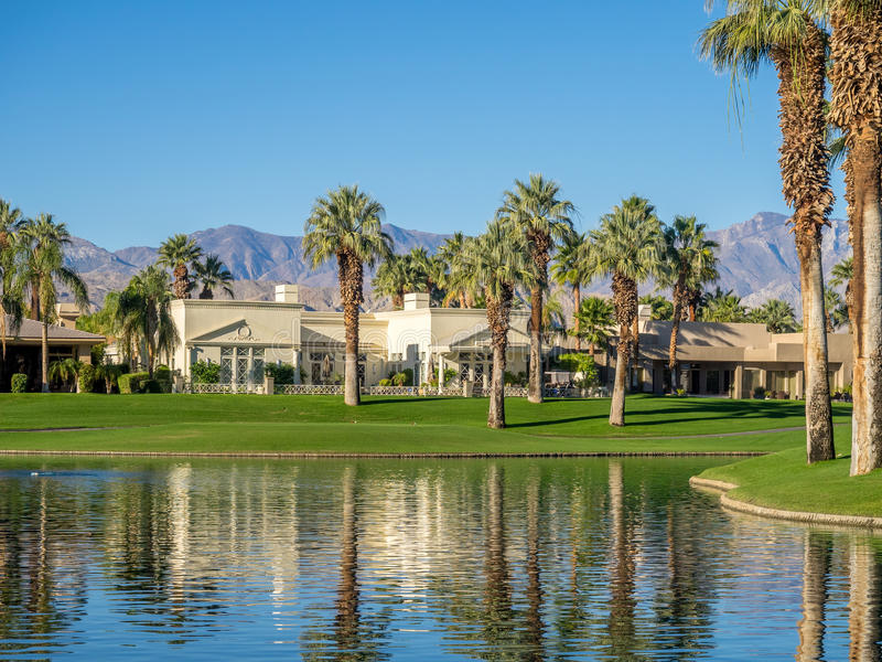 Water features at a golf course at the JW Marriott Desert Springs stock photo