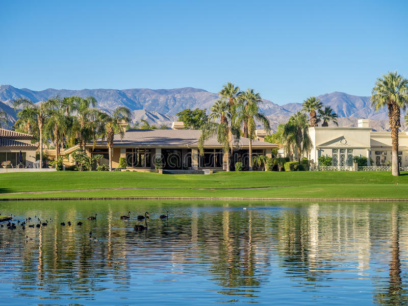 Water features at a golf course at the JW Marriott Desert Springs royalty free stock photo