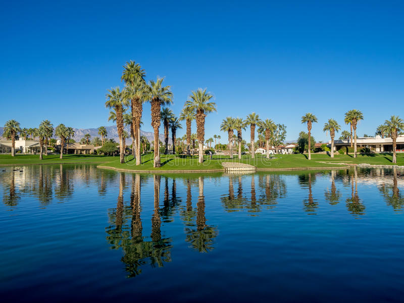 Water features at a golf course at the JW Marriott Desert Springs stock image