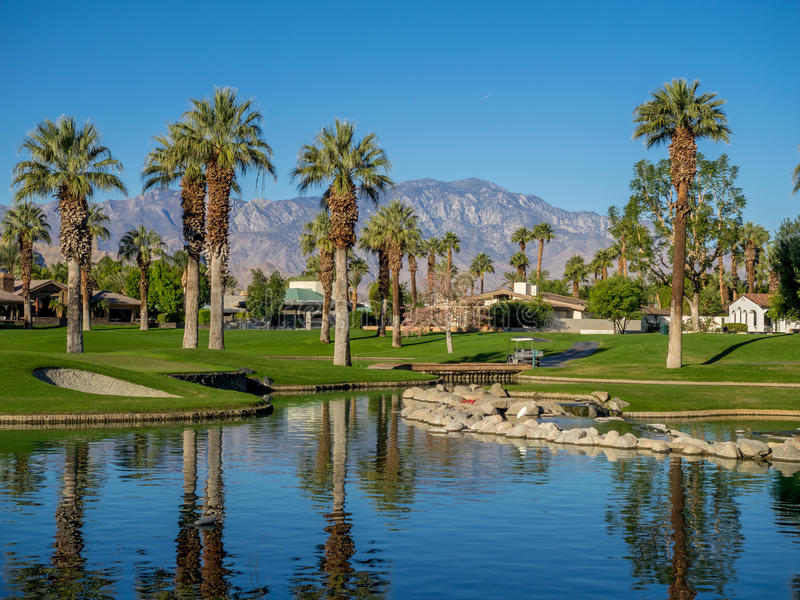 Water features at a golf course at the JW Marriott Desert Springs stock images
