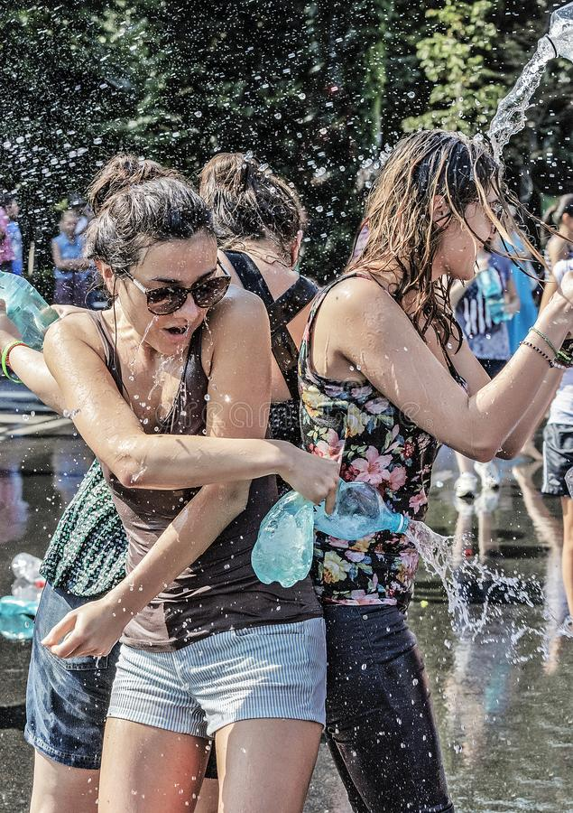 Free Water Fight Day Celebrated On Bucharest Street. Royalty Free Stock Photos - 108589358