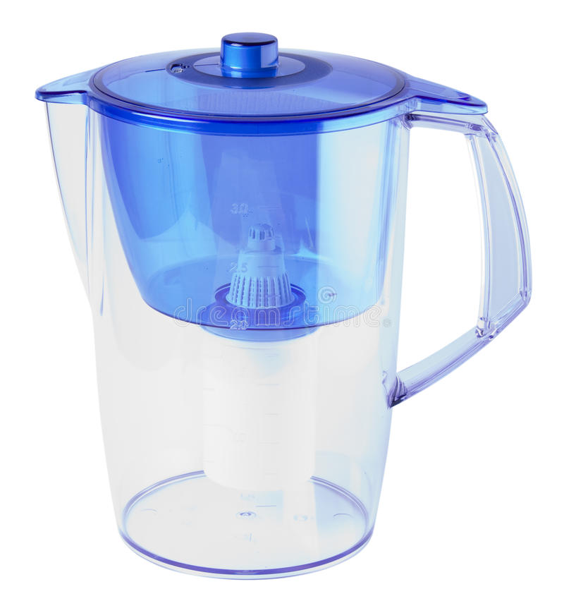 Water filter. Blue water filter isolated on white with clipping path royalty free stock images