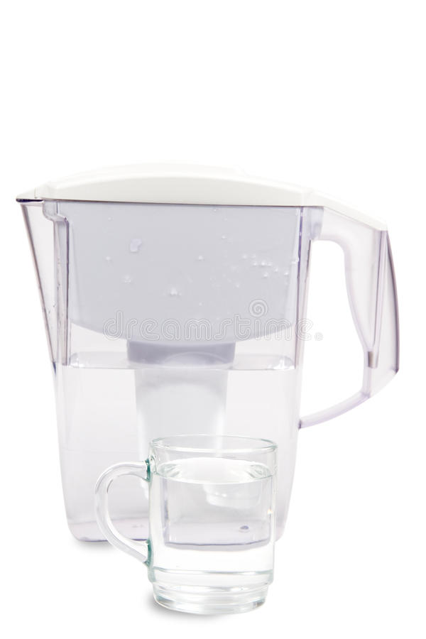 Water filter. And a mug of clean water on a white background stock image