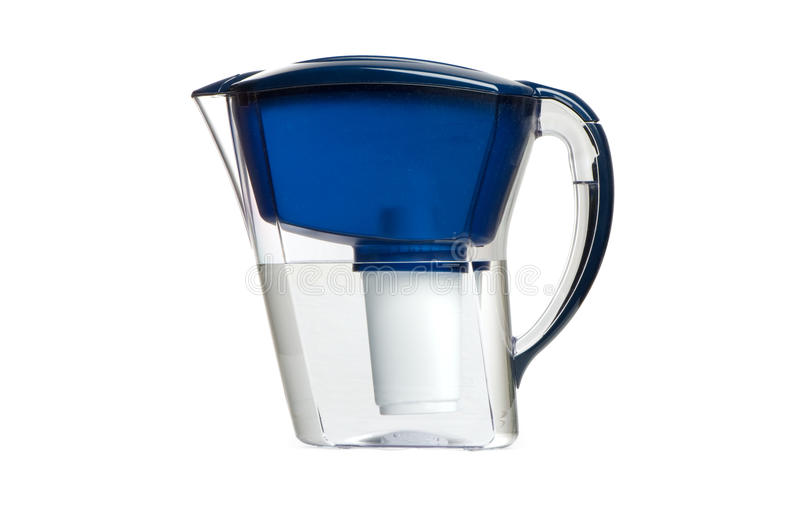 Water filter. Blue water filter isolated on white background stock photography