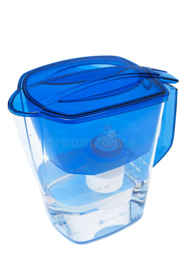 Water filter. Modern water filter on a white background stock photo