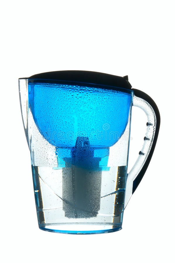 Water filter. Blue wet water filter isolated on white royalty free stock images