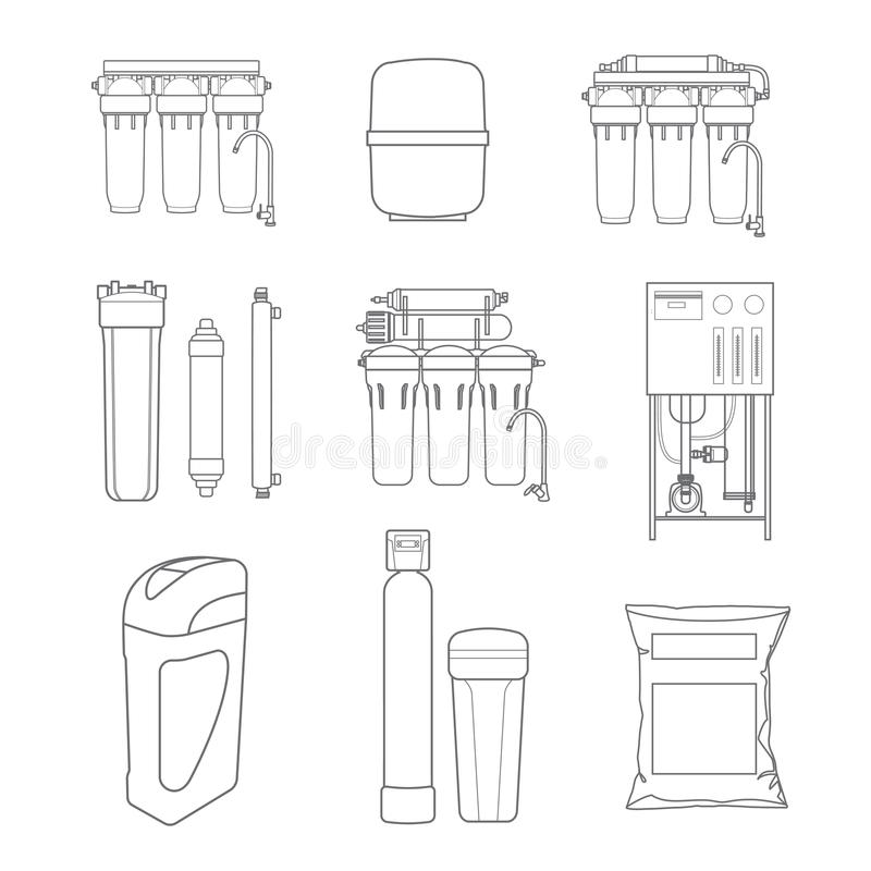 Water filter isolated vector icons. Linear style. Water purification equipment, cartridge vector illustration