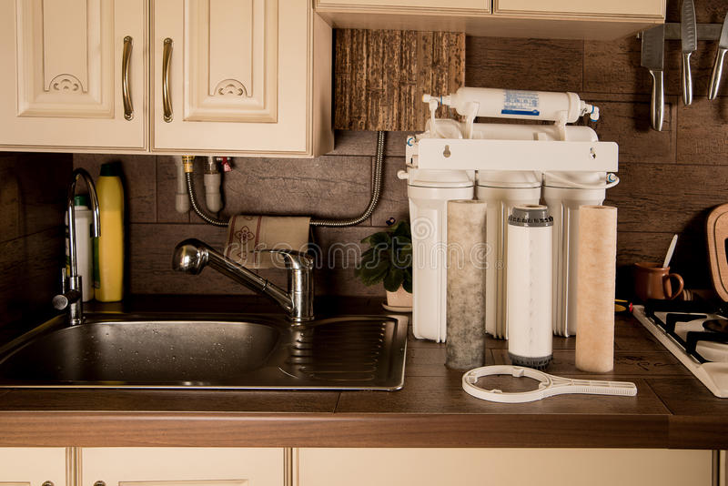Water filter. Repair of the filter stock photography