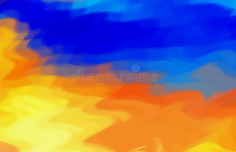Unbelievable colorful abstract background of water and fire. Yellow,orange and blue color. royalty free stock image