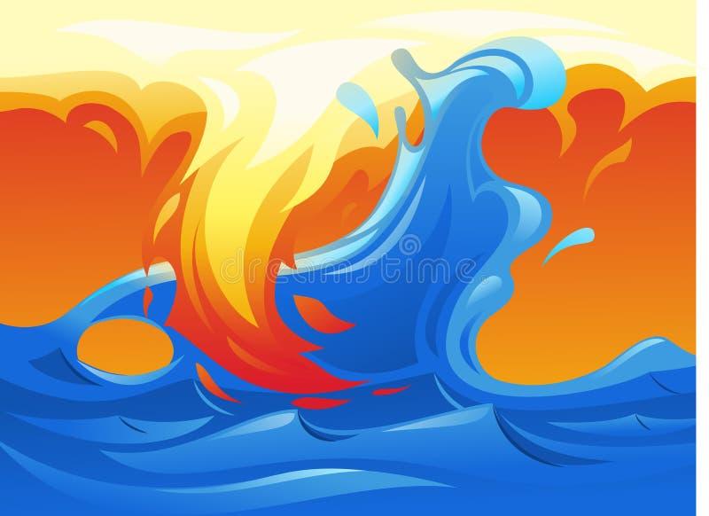 Water and fire yin yang symbol 3 stock illustration