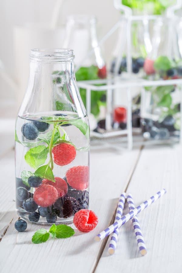 Water in fles met bessen en munt stock afbeelding
