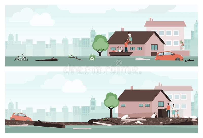 Water flood emergency. People surviving a water flood emergency and returning back to their home royalty free illustration