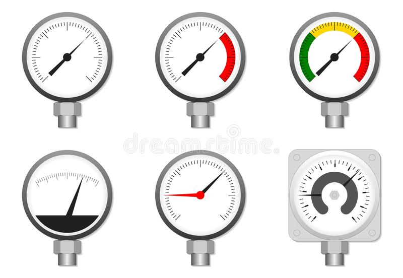Water flow metering station. On light gray brick wall. Pipelines with flanged valves, filters, manometers, thermometers vector illustration