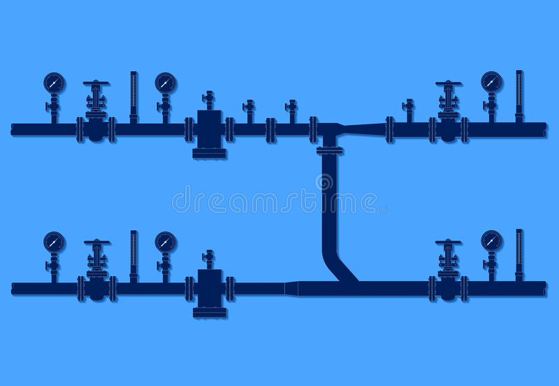Water flow metering station. Over blue background. Pipelines with flanged valves, filters, manometers, thermometers vector illustration