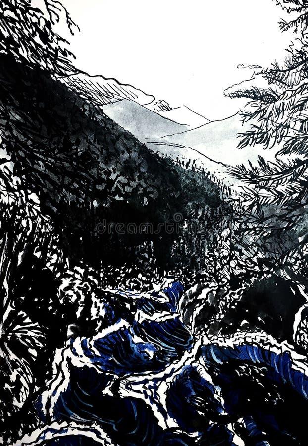 Water flow river ink illustration vector illustration