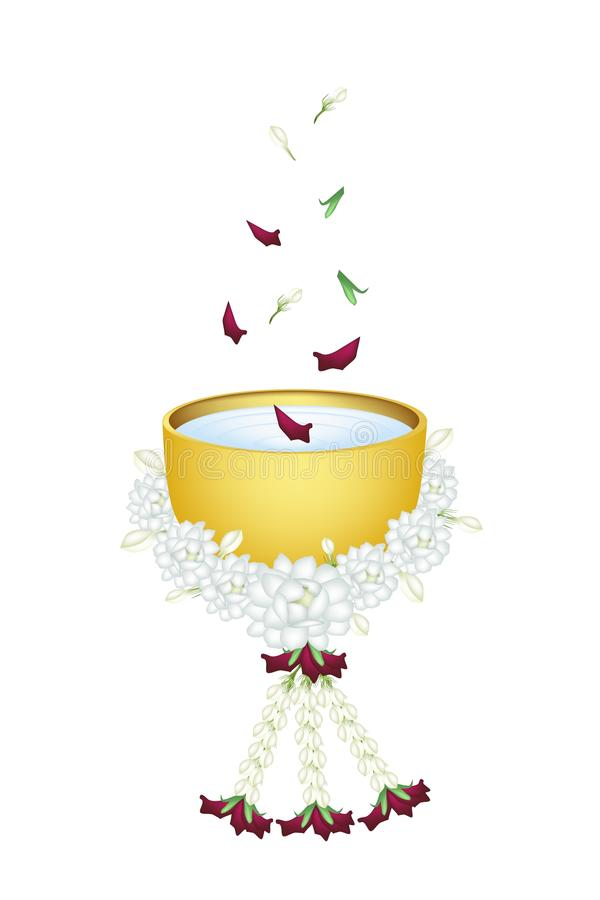 Water with Flower Corolla in Bowl for Songkran Fes royalty free illustration