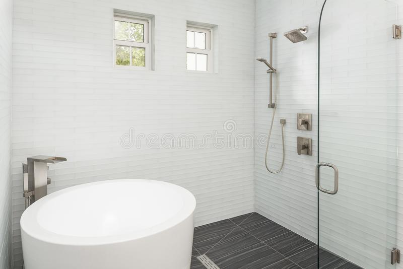 Modern and Elegant Bathtub Bathroom and Shower Fixtures stock images