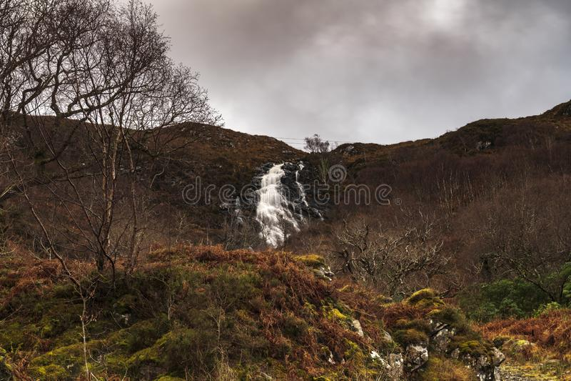 Moidart waterfall. Water flowing off the hills and down the burns in Moidart on the west coast of Scotland royalty free stock photo