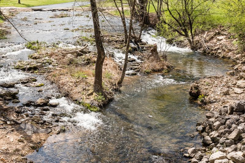 Water Flowing over Rocks Stones in a Stream.  stock images