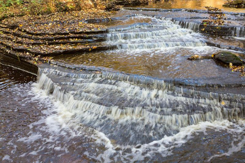 Water flowing over the shale rock in the river stock photography