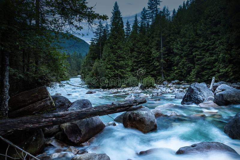 Water flowing rocks down stream along trail stock images