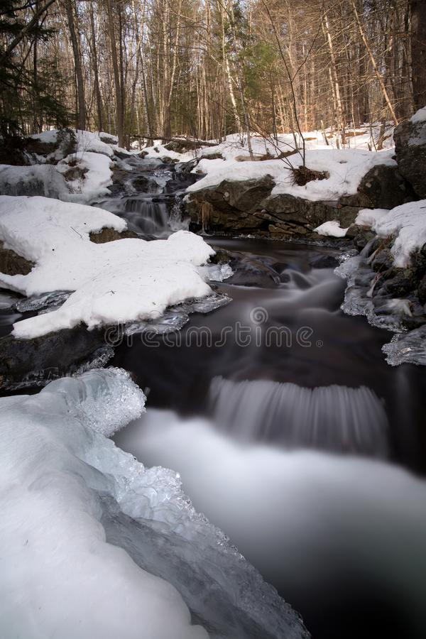Water Flowing Through Snow Covered Forest royalty free stock images
