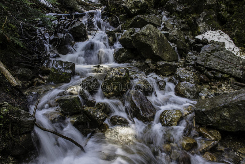 Water flows. A babbling water fall royalty free stock images